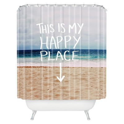 happy place beach shower curtain blue deny designs