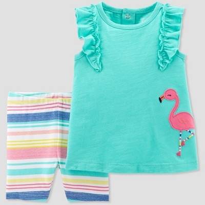 Baby Girls' 2pc Flamingo Top and Stripe Shorts Set - Just One You® made by carter's Teal