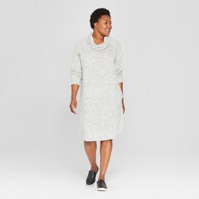 Women's Plus Size Knit Cowl Neck Dress - Ava & Viv™