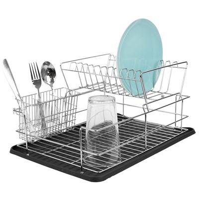 home basics deluxe 2 tier dish rack black