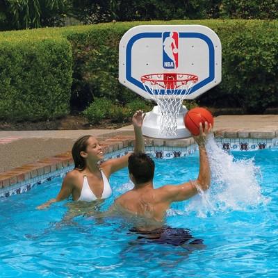 Poolmaster Poolside Competition Style Nba Basketball Hoop And Nylon Basketball