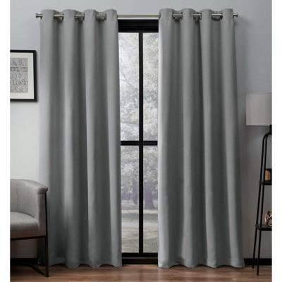 Heath Textured Linen Woven Room Darkening Grommet Top Window Curtain Panel Pair - Exclusive Home™