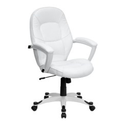 White Leather Swivel Desk Chair Covers Storage Mid Back Executive Office Flash Furniture Target