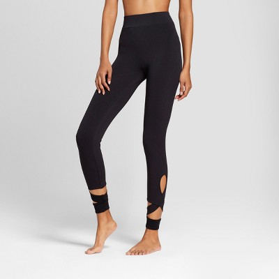 Women's Seamless Ankle Wrap Leggings - A New Day™ Black
