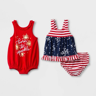"Baby Girls' 3pc ""Born to Sparkle"" Romper and Dress with Panty - Cat & Jack™ Red/Blue"
