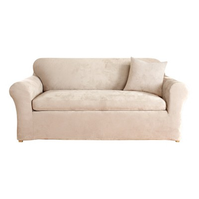 Stretch Suede 3pc Loveseat Slipcover Sure Fit