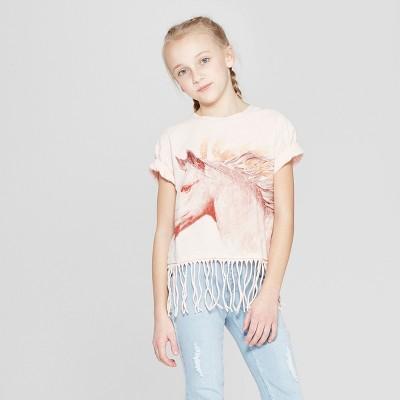Girls' Short Sleeve Raw Edge Horse T-Shirt - art class™ Pink