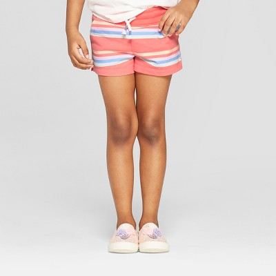 Toddler Girls' Striped Straight Pull-On Shorts - Cat & Jack™ Peach