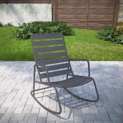 roberta outdoor indoor rocking chair charcoal gray novogratz
