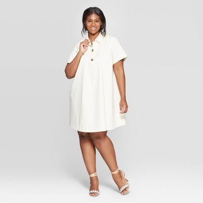 Women's Plus Size Short Sleeve V-Neck Trapeze Shirtdress - Who What Wear™