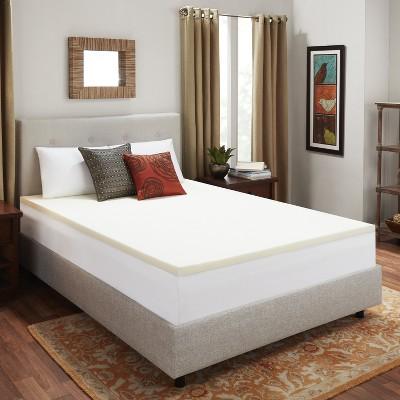 "2"" Memory Foam Mattress Topper Beige - Authentic Comfort"