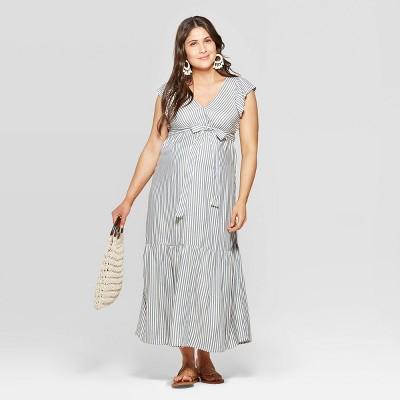 Maternity Striped Short Sleeve V-Neck Neck Midi Dress - Isabel Maternity by Ingrid & Isabel™ Blue
