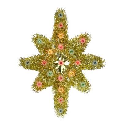 "Northlight 21"" Oversized Lighted Gold Tinsel Star of Bethlehem Christmas Tree Topper - Multi-Color Lights"