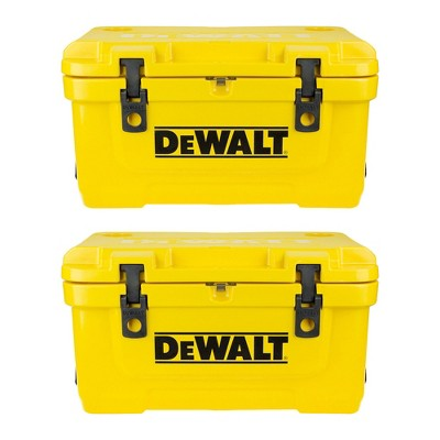 Dewalt 45 Quart Roto Molded Insulated Lunch Box Portable Drink Cooler (2 Pack)