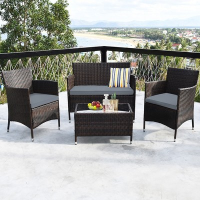 costway 4pcs rattan patio furniture set cushioned sofa chair coffee table garden grey