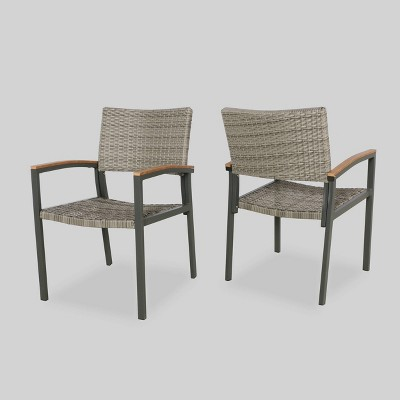 luton 2pk wicker aluminum patio dining chair gray christopher knight home