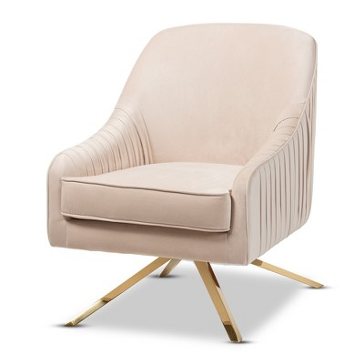 Amaya Velvet Lounge Chair Light Beige/Gold - Baxton Studio
