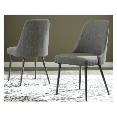 gray side chair swivel le corbusier set of 2 coverty dining upholstered light brown signature design by ashley