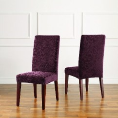 Target Stretch Chair Covers Ergonmic Office Jacquard Damask Short Dining Room Cover Raisin Sure Fit