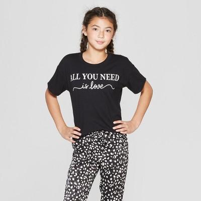 Girls' Short Sleeve Graphic T-Shirt - art class™ Black