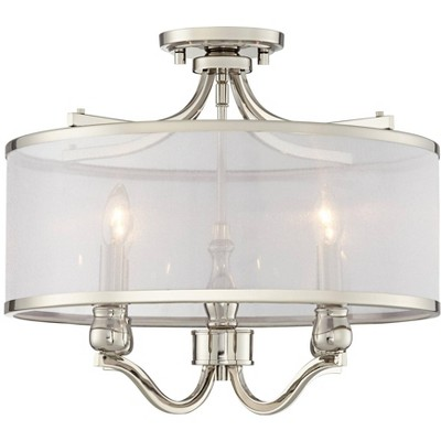 possini euro design ceiling light semi flush mount fixture polished nickel 18 wide 4 light silver organza shade bedroom kitchen
