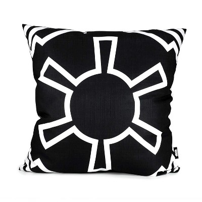 Se7en20 Star Wars White Imperial Symbol 25 x 25 Inch Black Square Outdoor Pillow