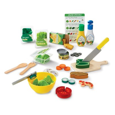 Melissa & Doug Slice and Toss Salad Play Food Set - 52pc Wooden and Felt