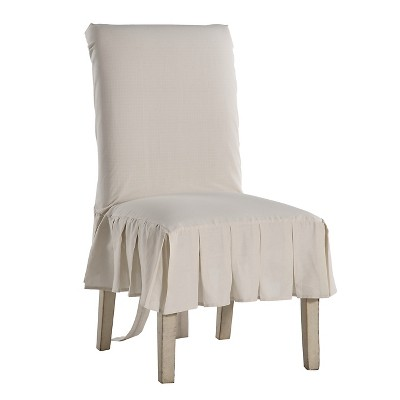 dining chair covers target black spandex wholesale natural cotton duck pleated slipcover