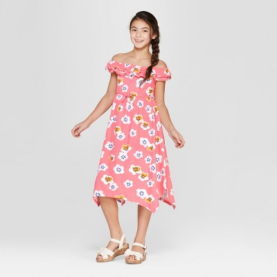 Girls' Floral Print Knit Maxi Dress - Cat & Jack™ Coral
