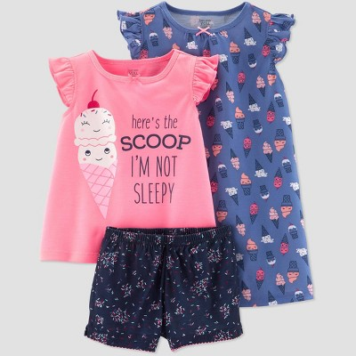 Toddler Girls' 3pc Poly Ice Cream Pajama Set - Just One You® made by carter's Purple/Pink/Navy
