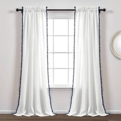 50 x84 pom pom window curtain panel navy lush decor