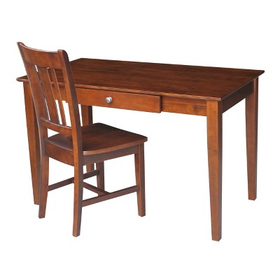 Basic Size Desk with Drawer and Chair Brown - International Concepts