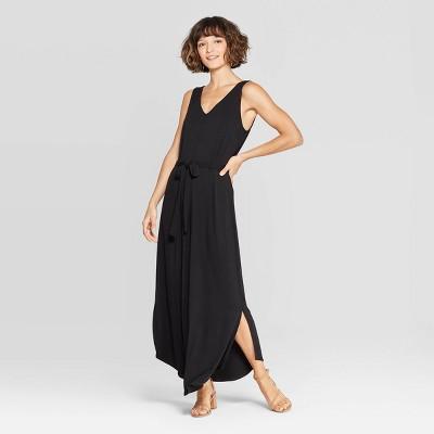 Women's Sleeveless V-Neck Knit Maxi Dress - A New Day™ Black