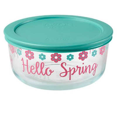 Pyrex 4 Cup Glass Happy Spring Food Storage Container Turquoise