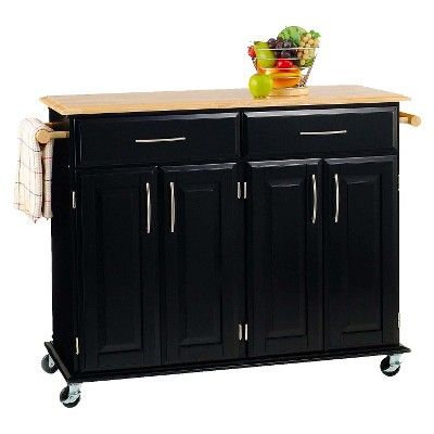 kitchen island cart target wine rack cabinet dolly madison wood black natural home styles