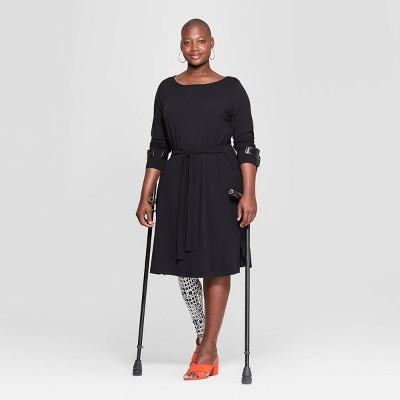 Women's Plus Size Long Sleeve Boat Neck Knit Dress - Ava & Viv™ Black