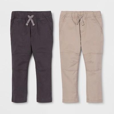 Toddler Boys' Straight Fit 2pk Pull-On Pants - Cat & Jack™ Black/Khaki