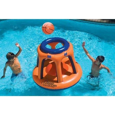 "Swimline 45"" Basketball Hoop Shootball Inflatable Pool Toy + Electric Air Pump"
