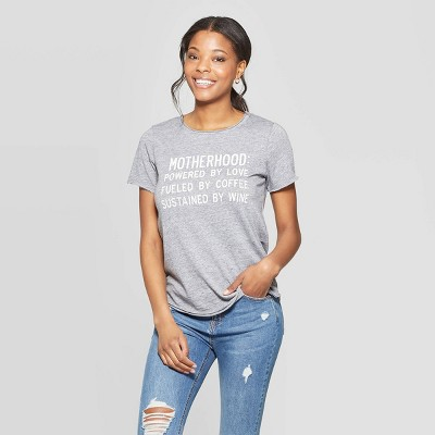 Women's Short Sleeve Scoop Neck Motherhood Love Coffee Wine T-Shirt - Grayson Threads - Gray