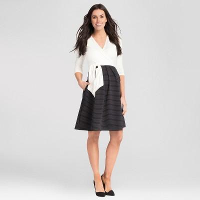 Maternity Striped V-Neck Nursing Dress - Expected by Lilac - Ivory/Black