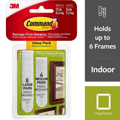 Command® Medium and Large Picture Hanging Strips 4 Medium/8 Large