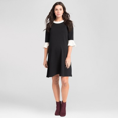 Maternity Bell Sleeve Swing Dress - Expected by Lilac - Black