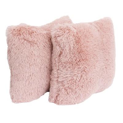 2pk rose smoke chubby faux fur pillow pink decor therapy