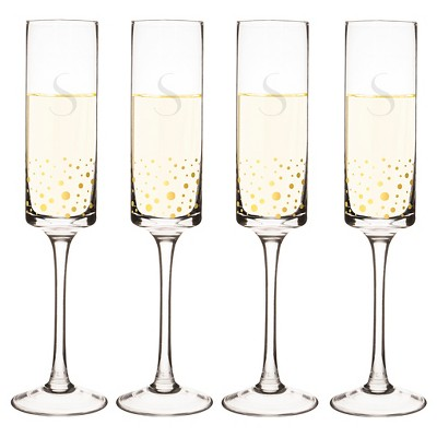 Cathy's Concepts® 4pc Monogram Gold Dots Champagne Flutes A-Z