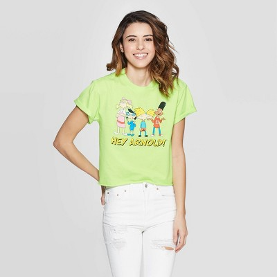 Women's Nickelodeon Hey Arnold Short Sleeve Cropped Graphic T-Shirt (Juniors') - Neon Green