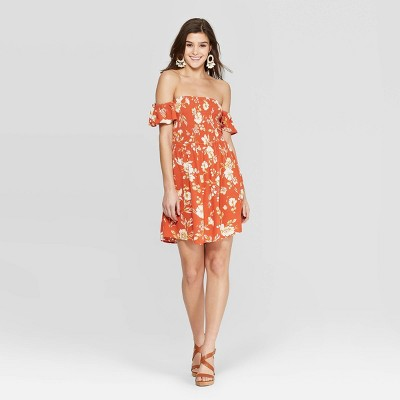 Women's Floral Print Short Sleeve Square Neck Smocked Top Dress - Xhilaration™ Orange