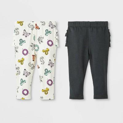 Baby Girls' 2pk Ruffle Leggings Pants Set - Cat & Jack™ Black/Cream
