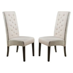 Dining Chairs Fabric Leather Chair And 1 2 Recliner Linden Tall Back Natural Set Of Christopher Knight Home