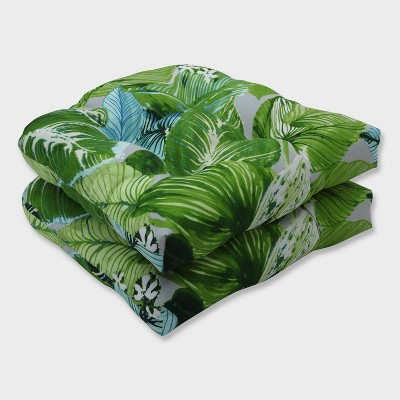 2pk lush leaf jungle wicker outdoor seat cushions green pillow perfect
