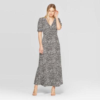 Women's Polka Dot 3/4 Sleeve V-Neck Maxi Dress - Who What Wear™ Black/White